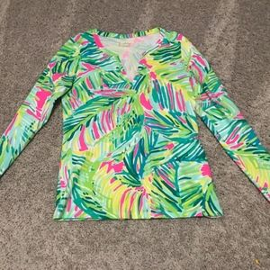 Lilly Pulitzer Long Sleeve V Neck Shirt- Small
